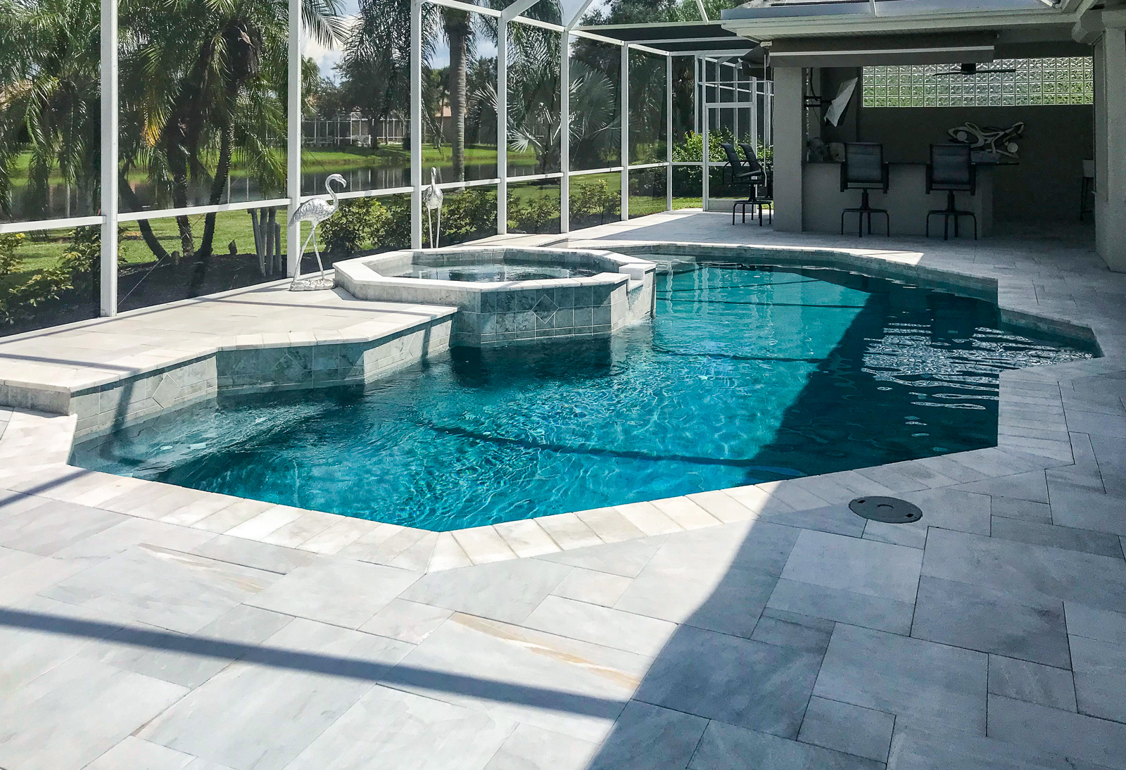 Octagonal swimming pool remodel Lakewood Ranch